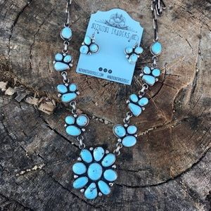 Sterling Golden Hills Turquoise Necklace Set